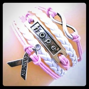 Jewelry - Infinity, Hope Pink Ribbon Breast Cancer Bracelet